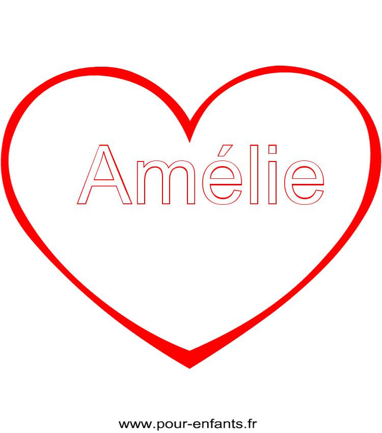 Imprimer le pr nom amelie coloriage dans un coeur - Dessin avec un coeur ...