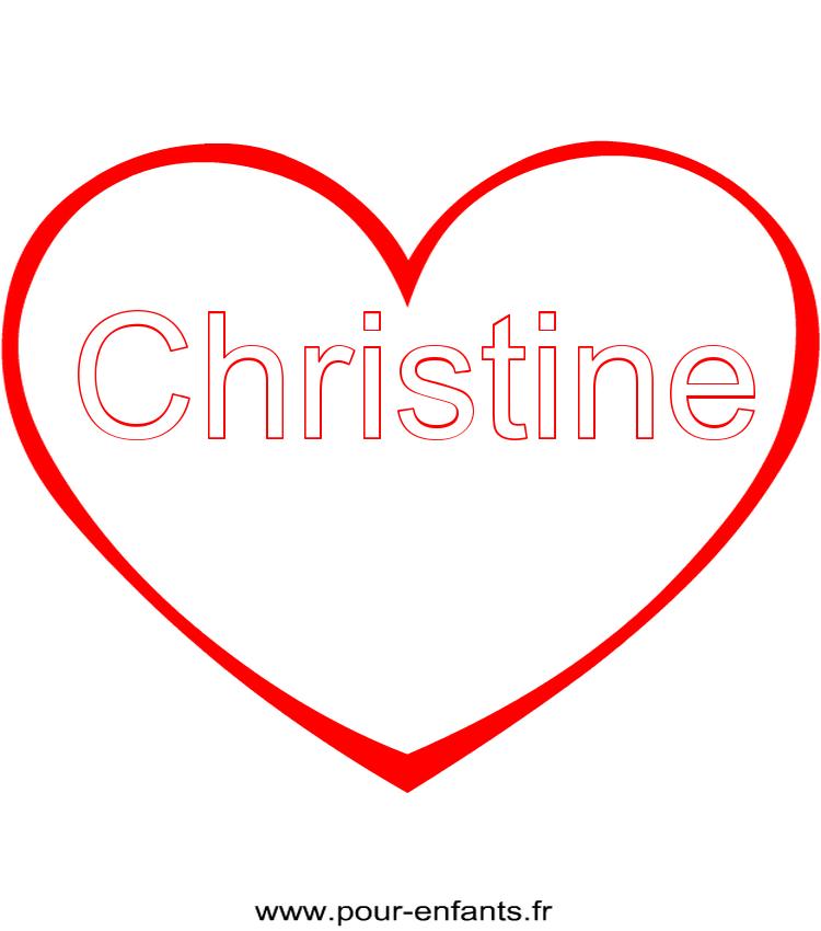 imprimer le pr nom christine coloriage dans un coeur. Black Bedroom Furniture Sets. Home Design Ideas