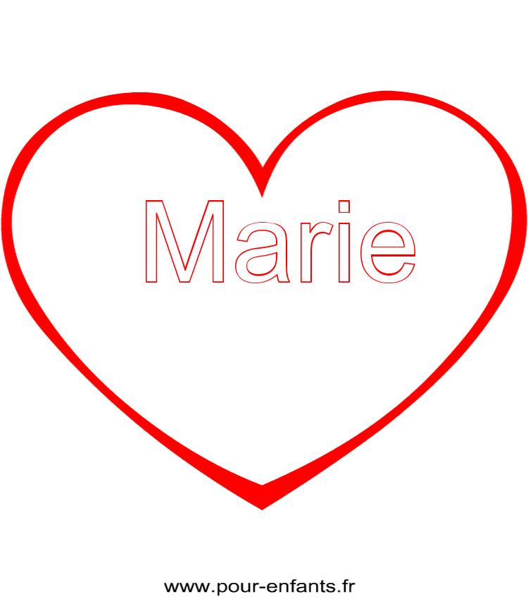 Imprimer le pr nom marie coloriage dans un coeur - Image de coeur a imprimer ...