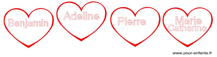 Imprimer son prénom dans un coeur pour faire un coloriage